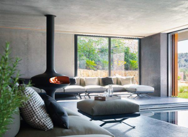 cheminee design centrale magmafocus hotel sonbrull rvb